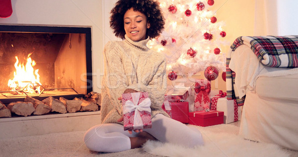 Pretty african american woman holds christmas gift Stock photo © dash