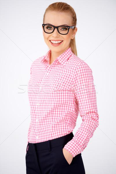 Portret szczęśliwy geek dziewczyna Zdjęcia stock © dash