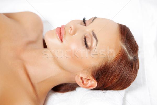 Güzel bir kadın terapi geri rahatlatıcı gözleri kapalı lüks Stok fotoğraf © dash