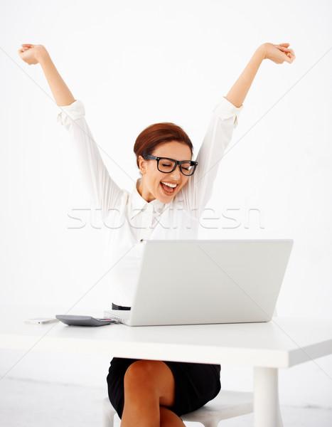 女性実業家 歓喜 美しい 小さな 座って 表 ストックフォト © dash