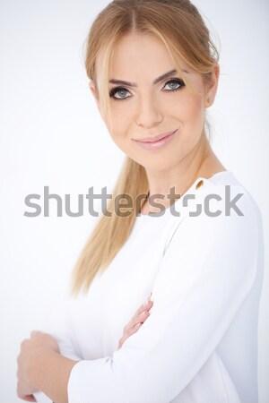 улыбаясь женщину белый рубашку Сток-фото © dash