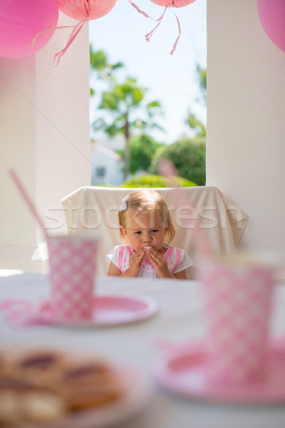 Little Princess Sitting on her Birthday Party Stock photo © dash