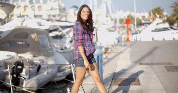 Woman Goes Ashore From A Boat  Stock photo © dash