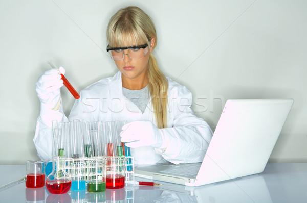 Kadın laboratuvar işçi test kadın dizüstü bilgisayar Stok fotoğraf © dash