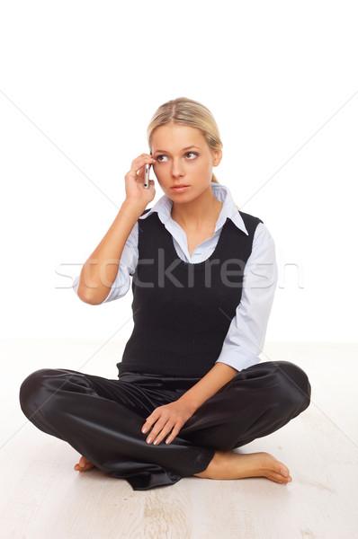 Stockfoto: Zakenvrouw · telefoon · mooie · mobiele · telefoon · glimlach