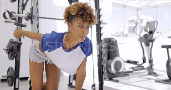 Woman breathing while working out Stock photo © dash