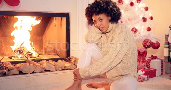 Vrouw haard hand haren witte Stockfoto © dash