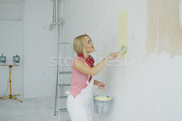 Young female painting wall with brush Stock photo © dash