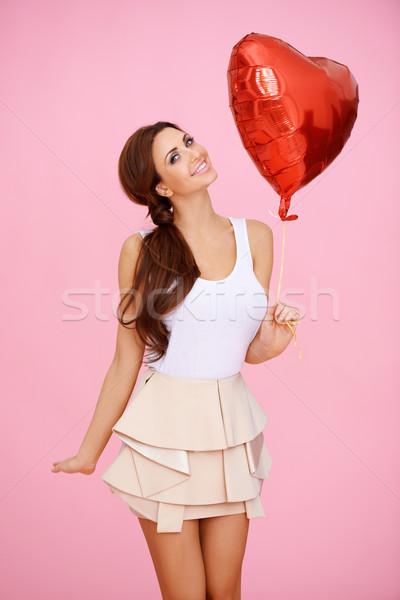 Sexy vrouw hart ballon Rood valentijnsdag bruiloft Stockfoto © dash
