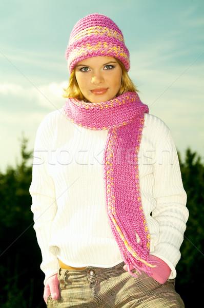 Iş kadını açık genç rahatlatıcı dağlar açık havada Stok fotoğraf © dash