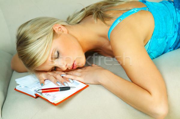 Foto stock: Mulher · loira · escritório · mulheres · trabalhar · caneta · calendário