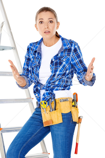 DIY handy woman at her wits end Stock photo © dash