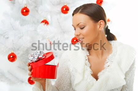 Güzel Noel yıl güzel bir kadın noel ağacı beyaz Stok fotoğraf © dash