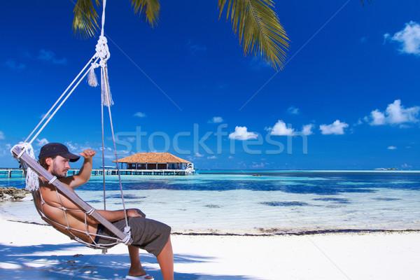 Stockfoto: Man · Maldiven · knappe · man · water · strand
