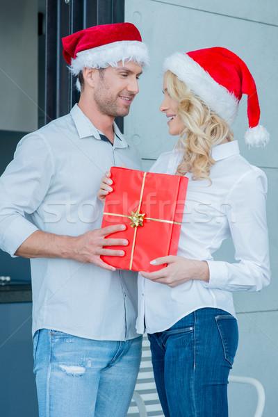 ストックフォト: ロマンチックな · 祝う · クリスマス · 立って · 近い