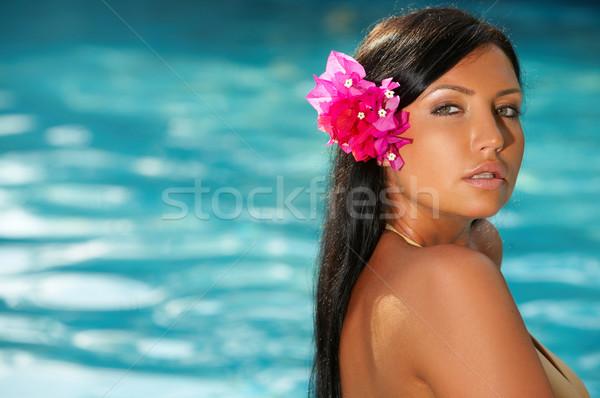 Vrouw zwembad jaren exotisch bali Stockfoto © dash