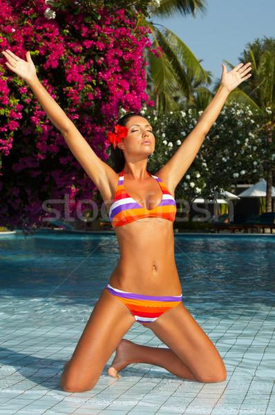 Sluiten zwembad jaren ontspannen zwembad Stockfoto © dash