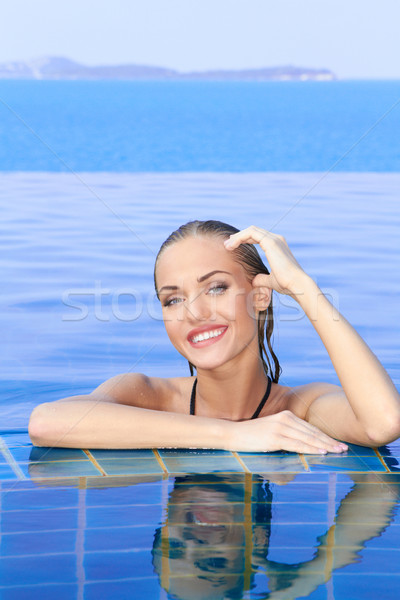 Smiling Woman Reflected In Pool Stock photo © dash