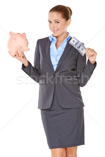 успешный деловая женщина Piggy Bank красивой стороны Сток-фото © dash