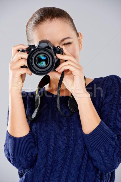 女性 カメラマン 写真 焦点 カメラ ストックフォト © dash