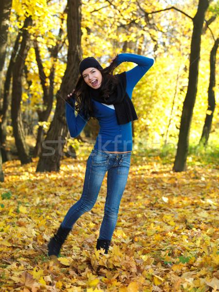 Beleza outono bela mulher tempo parque Foto stock © dash