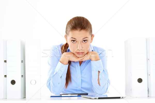 Stock fotó: Túlhajszolt · hangsúlyos · üzletasszony · fiatal · bámul · kamera