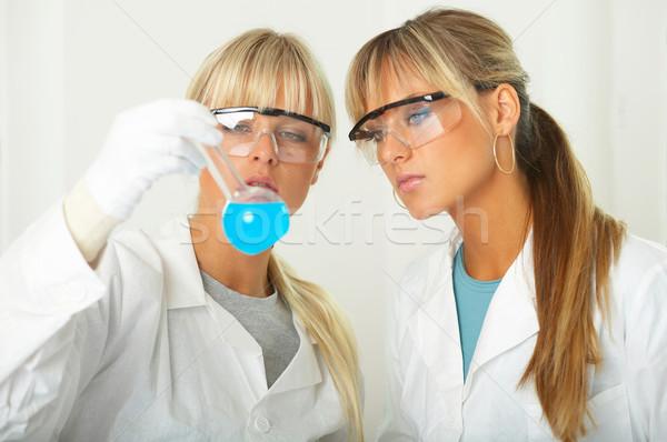Feminino lab trabalhadores teste mulheres óculos Foto stock © dash