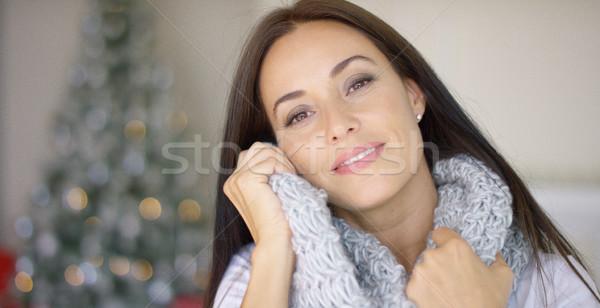 夢のような 若い女性 スカーフ 冬 ホーム ストックフォト © dash