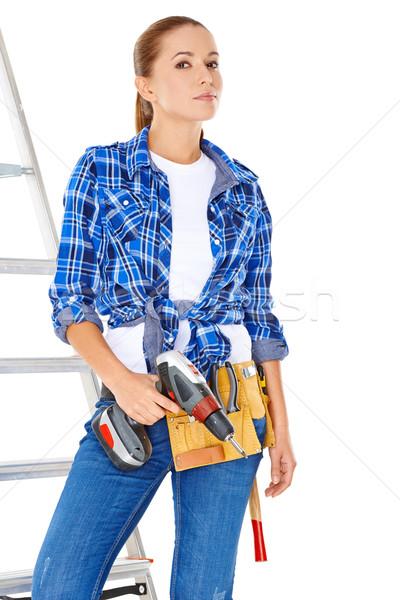 счастливым женщину Постоянный инструментом пояса Сток-фото © dash