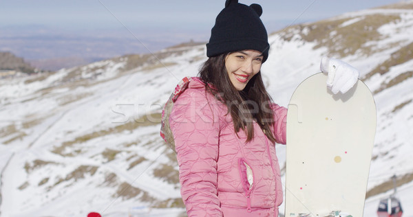 Glimlachende vrouw snowboard bergen half lichaam portret Stockfoto © dash