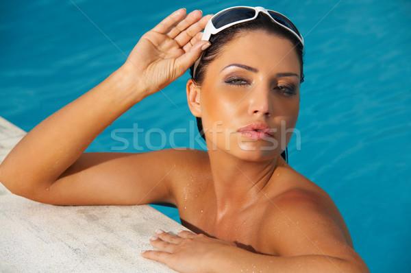 Nő úszómedence évek nő portré játszik egzotikus Stock fotó © dash