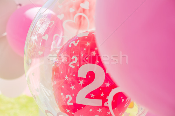 Garden Birthday Party Decoration With Balloons Stock photo © dash