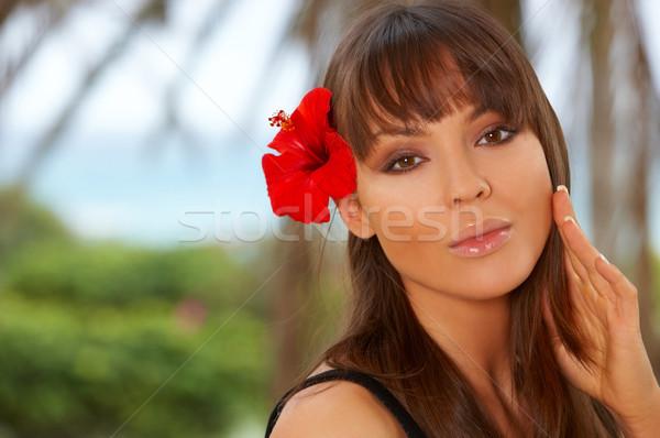 Rood bloem jaren exotisch meisje Stockfoto © dash