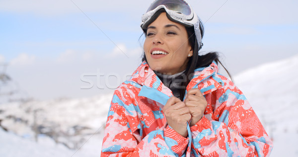 Gorgeous young woman enjoying the winter view Stock photo © dash