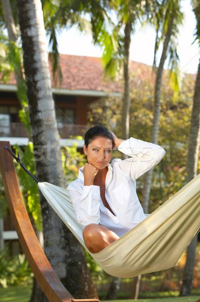 Vrouw hangmat jaren exotisch meisje Stockfoto © dash