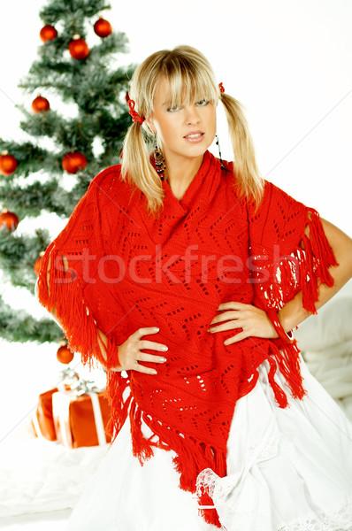 Belo natal mulher jovem árvore de natal branco mulher Foto stock © dash