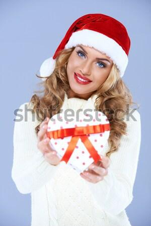 Blond kobieta puste papieru niespodzianką twarz Zdjęcia stock © dash
