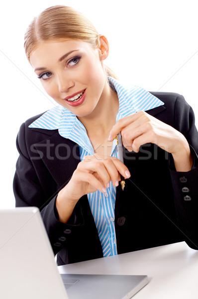 Sarışın işkadını portre güzel iş kadını dizüstü bilgisayar Stok fotoğraf © dash