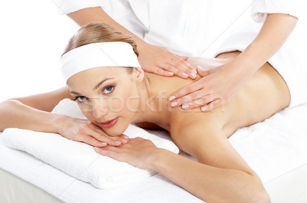 Vrouw schouder massage masseuse maag spa Stockfoto © dash