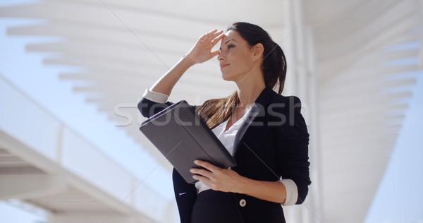 Elegáns üzletasszony promenád áll tart táblagép Stock fotó © dash