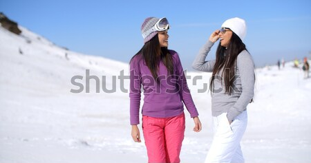 Two friends hiking up ski slope Stock photo © dash