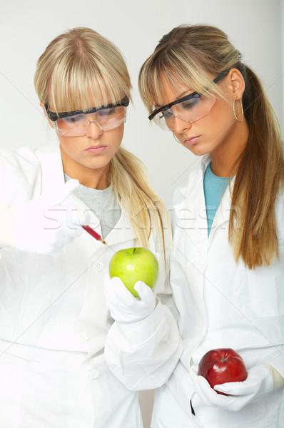 Vrouwelijke lab wetenschappers vloeibare vrouwen appel Stockfoto © dash