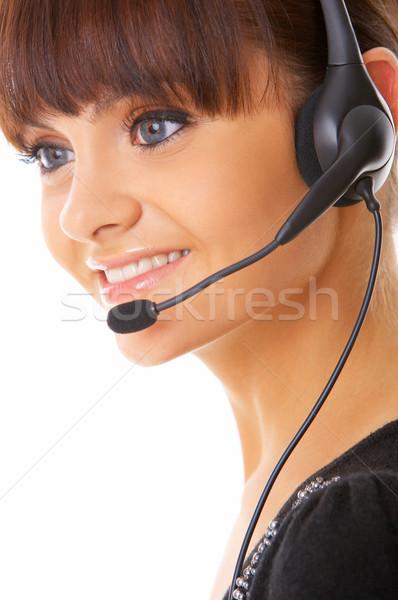 Secretário on-line retrato belo isolado branco Foto stock © dash