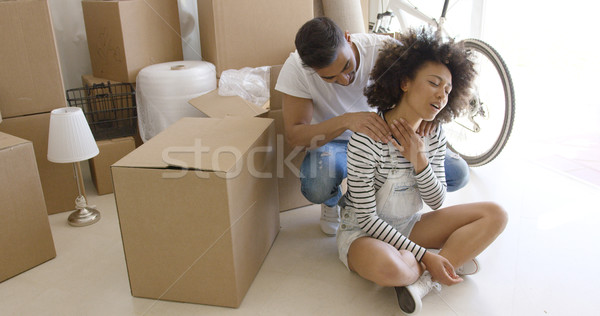 Husband massaging the neck of his wife Stock photo © dash
