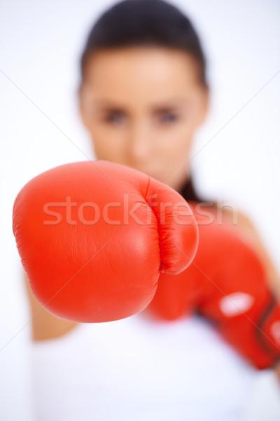 боксерская перчатка расплывчатый силуэта женщину счастливым Сток-фото © dash