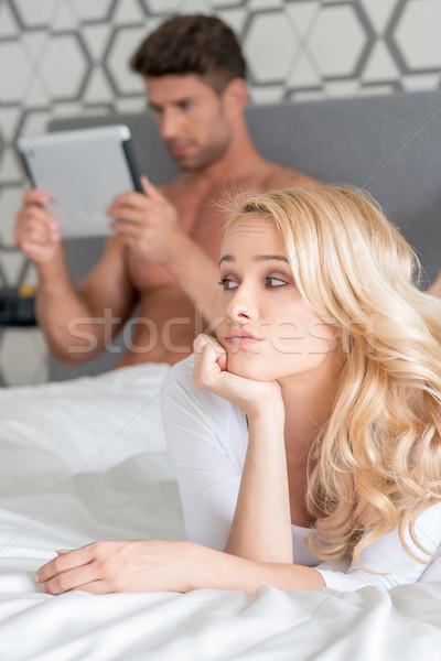 Macro Pretty Couple Partner on Bed Fashion Shoot Stock photo © dash