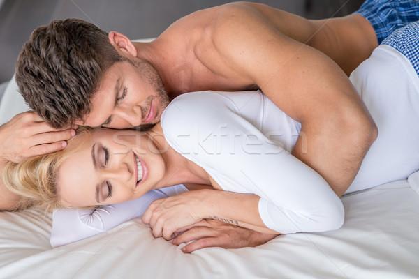 романтические пару белый кровать Сток-фото © dash