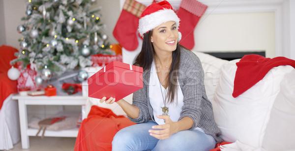 Ciekawy młoda kobieta christmas dar odgadnąć zawartość Zdjęcia stock © dash