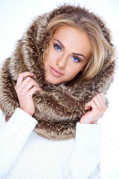 Stock photo: Gorgeous blue eyed woman in winter fashion