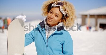 Femme téléphone célibataire bleu blanche gants Photo stock © dash